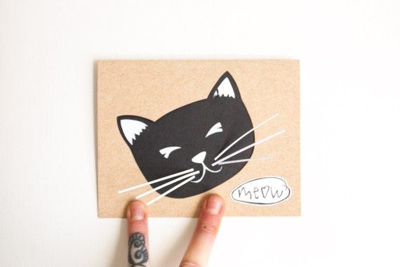 Hand Cut Birthday Card: Cat Meow Birthday Card--Custom Color - JerseysFreshest
