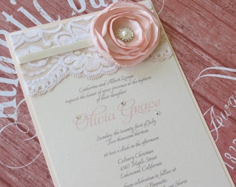 OLIVIA - Blush and Ivory Lace Bapti sm Invitation - with Flower and ...