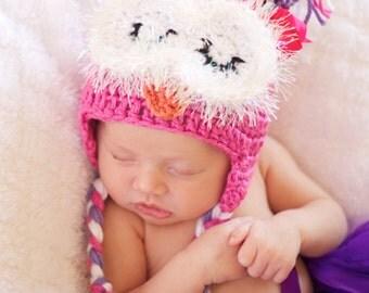 Crochet Owl Hat- Child Size