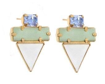 turquoise stud earrings, statement earrings, cocktail earrings, geometric earrings, stud earrings, crystal earrings.