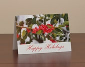 Greeting card set, 25 photo greeting cards, Holly Berries blank note cards, Christmas card set, Happy Holidays cards, FREE SHIPPING