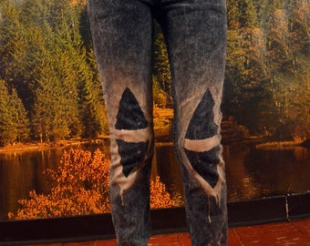Acid Washed // Discharge Triangle Skinny Jeans - Sz 25 (American Apparel)