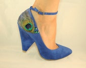 Blue Ankle Strap Peacock Chunky Heel