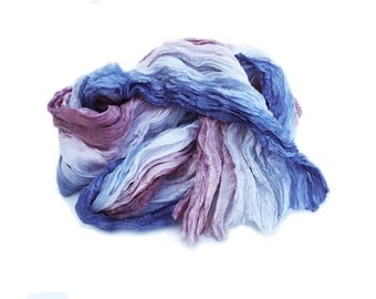 Anne Boleyn -  blue, mauve, gun metal, dusty pink, pomegranate silk ruffled scarf.