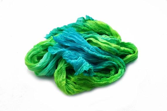 blue scarf, silk scarf Sea Green -  blue, green, emerald green, mint, turquoise silk scarf.