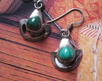 Sterling Silver & Malachite Earrings. Ethnic Gemstone Jewelry