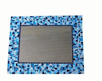 Large Blue Mosaic Wall Mirror, Blue Home Decor, Mosaic Mirror, Wall Art, Handmade Mirror