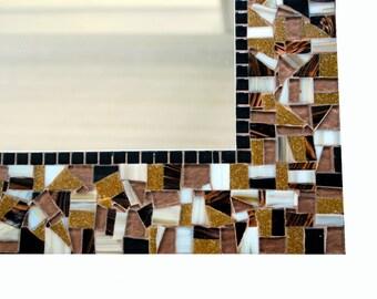 Mosaic Mirror, Brown and Black Wall Decor