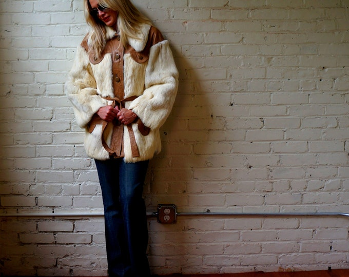 40s Rabbit Jacket Vintage 1940s Fur & Tan Leather Stroller SMALL MEDIUM Snow Bunny Coat Huge 30s Style Collar Boston Store Milwaukee USA