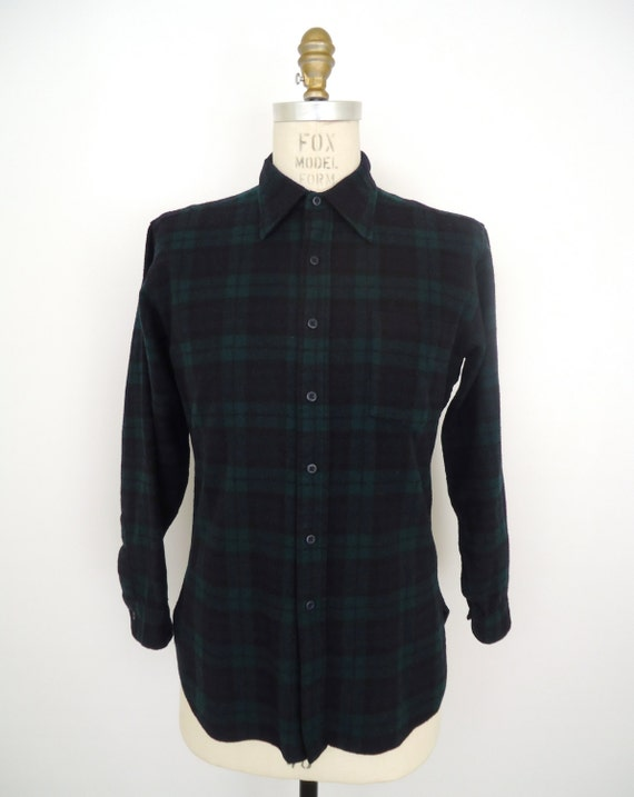 Pendleton black watch tartan flannel vintage green blue for Black watch plaid flannel shirt