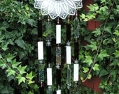 Vintage Petal Plate Wind chime With Stained Glass and Bells