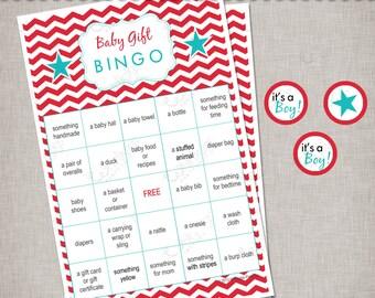Baby Gift Bingo Game -  Red & Aqua Chevrons - INSTANT DOWNLOAD