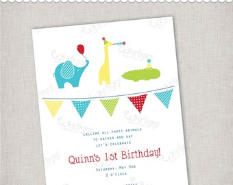 Party Animals Birthday Invitation - Digital File or Printed Invitations with Envelopes - FREE SHIPPING