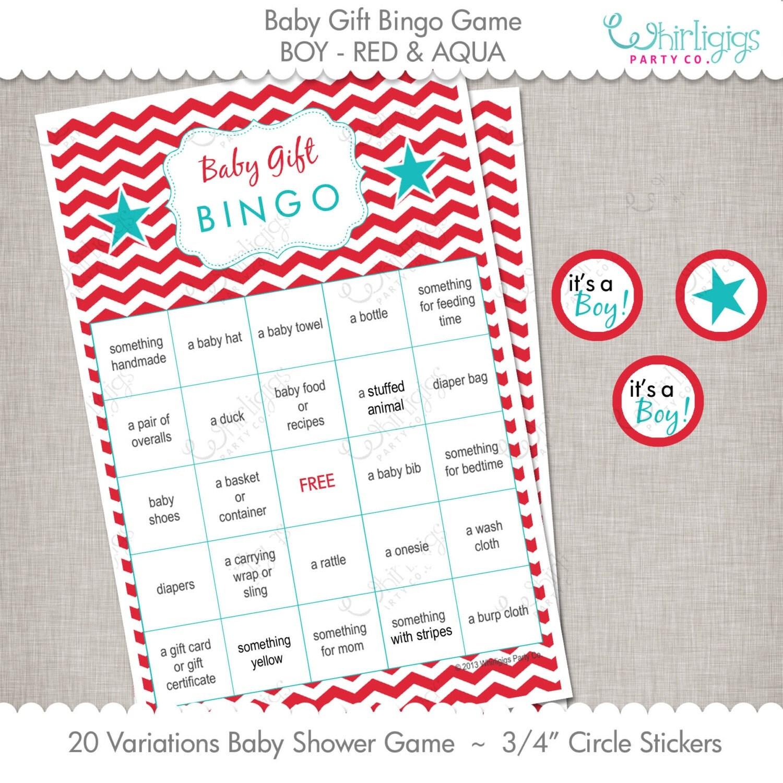 Baby Gift Bingo : Baby gift bingo game red aqua chevrons instant download