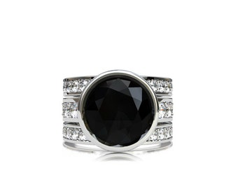 Engagement ring set, 10.00mm black spinel ring, white sapphire, engagement ring, black,  wedding band, engagement, bezel, unique, stacking