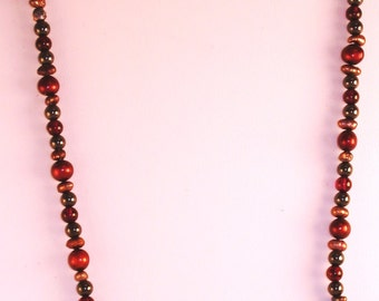 Red & Grey Pearl Necklace