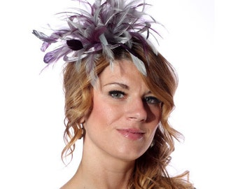 Silver and Burgundy Feather Fascinator Hat - wedding, ladies day - choose any colour feathers and satin