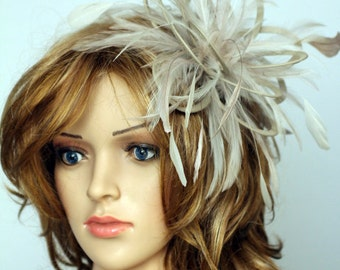 Taupe Nude and Cream Feather Fascinator Hat - wedding, ladies day - choose any colour feathers and satin