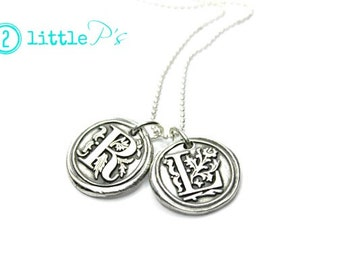 Personalized Jewelry Monogram Jewelry Letter Necklce  Wax Seal Letter Pendants  Choose YOUR LETTER