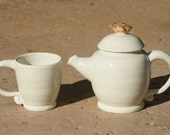 Eggshell Tea Set  with bird knob - Hand thrown Stoneware Pottery - ceramic tea pot and one tea cup - muddywaterscc