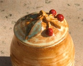 Cherry Trinket Jar - hand thrown stoneware pottery - muddywaterscc