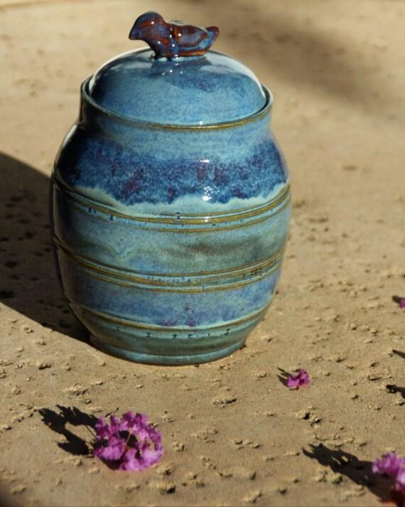 Blue Lidded Jar with Red Bird knob- hand-thrown stoneware pottery, biscotti jar