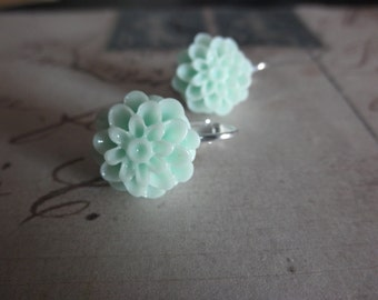 Girls Large Mint Green Mum Clip on Earrings