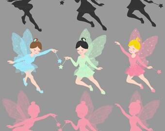 Fairies, Fairies Silhouette Clip Art Set
