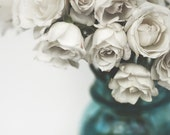 White Roses Photograph Shabby Chic Decor Elegant Feminine Floral Still Life Blue and White Color Fine Art Photography Wall Print