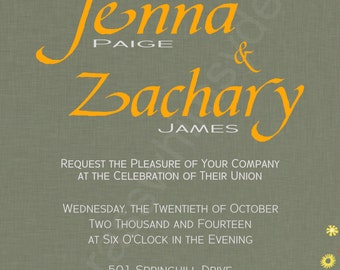 Wedding Invitation Folksy, Bicycle Built for Two 4x6 Printable Invitation