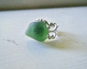 Green Sea Glass Adjustable Ring