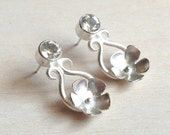White topaz silver earrings, Bridal jewelry, Flower earrings, November birthstone earrings, Silver cherry blossom earrings