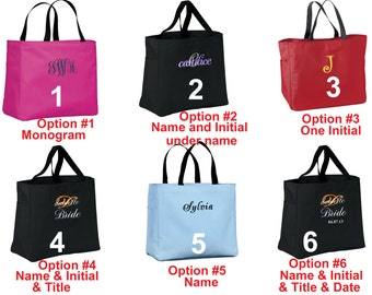 6 Personalized Tote Bag Bags - Set of 6 bags for Bride,  Bridesmaid, Mother of Bride Groom, Flower Girls. #1 em5