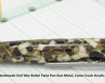 Civil War Bullet Pen Handmade in Gun Metal and Camo Crush