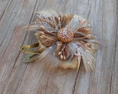 FLOWER SALE 40% OFF - Small Flower Hair Clip - Snap Hair Clip - Fabric Flower Hair Piece - Beige Feathers and Flowers