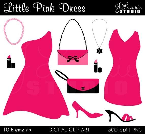 Little Pink Dress Digital Clipart-Cocktail