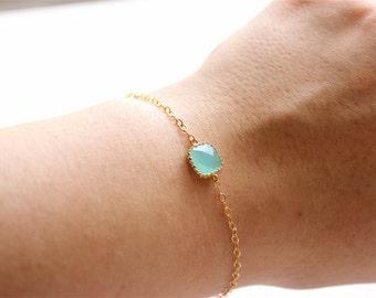 Gold Chain Bracelet - Delicate Bracelet - Aqua/Mint Glass Stone Pendant Bracelet