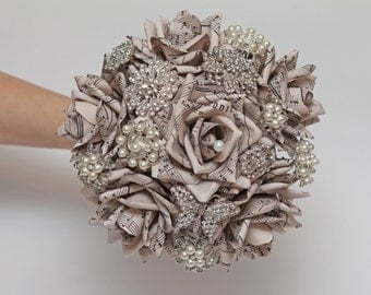 paper flowers, paper flower, brooch bouquet, wedding bouquet, paper flower bouquet, wedding flowers, note paper bouquet, vintage bouquet