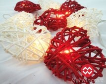 20 Red White Heart Rattan Lover Fairy Lights String 3m Valentine Party Patio Wedding Wall Floor Table or Hanging Gift Home Decoration