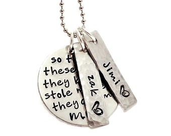 So There's These Boys Personalized Necklace - Hand Stamped - MIL - Mothers Necklace