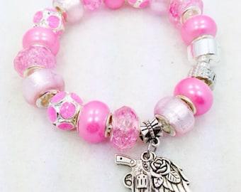 Pink Gun European Style Charm Bracelet