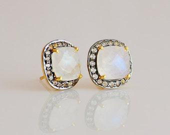 Rainbow Moonstone stud earrings - White Topaz Pavé studs - pave earrings - pave jewelry, cushion cut studs, June Birthstone, Bridesmaid gift