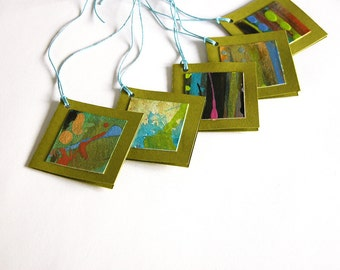 Hand-painted gift tags -- set of 5 folded tags / olive green / blue / multi / abstract design / OOAK / original / GT-61