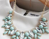 Silver / Gold Mint Green Jewel Crystal Statement Necklace / Anthropologie Necklace / Chunky Necklace / Bib Jcrew Silver Statement Necklace