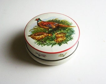 Vintage Riley's Toffee Tin with Pheasants and Chicks / Vintage Decorative Storage Tin / Shabby Chic Vintage Storage / Vintage Candy Tin