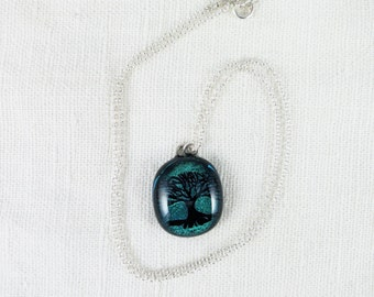 tree pendant, silver-blue dichroic glass on a silver chain