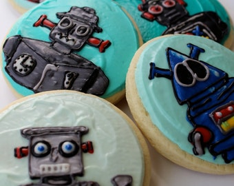 Robot / Vintage Robot / Wind Up Robot Sugar Cookies with Buttercream Frosting