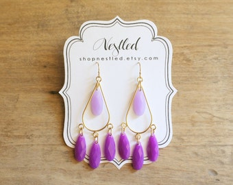Ombre Purple Teardrop Chandelier Statement Earrings, Purple Beaded Earrings