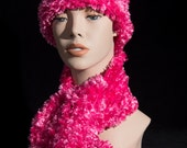 Pink Feather Scarf and Hat Set