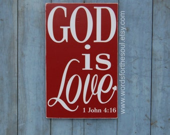 God is Love - Bible Verse Wall Art - Rustic - Wood Signs - Scripture Wall Art - 1 john 4 16 - Christian Wall Art - Wall Decor - wooden signs